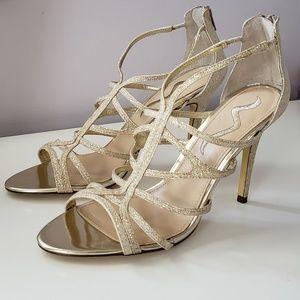 Gold strappy Nina heels size 10